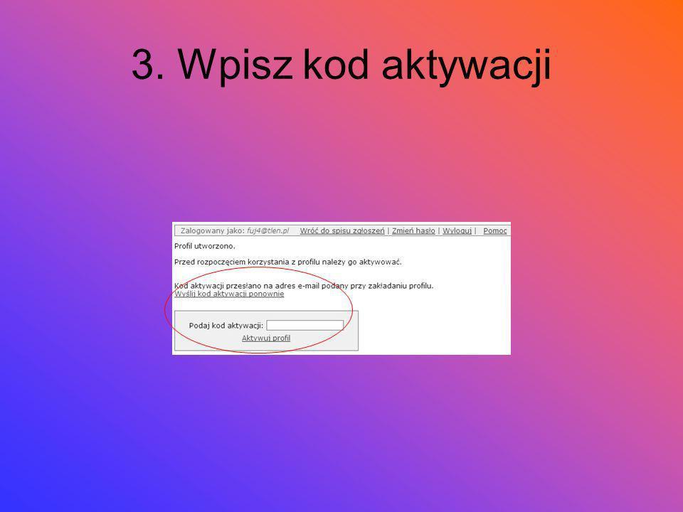 3. Wpisz kod aktywacji