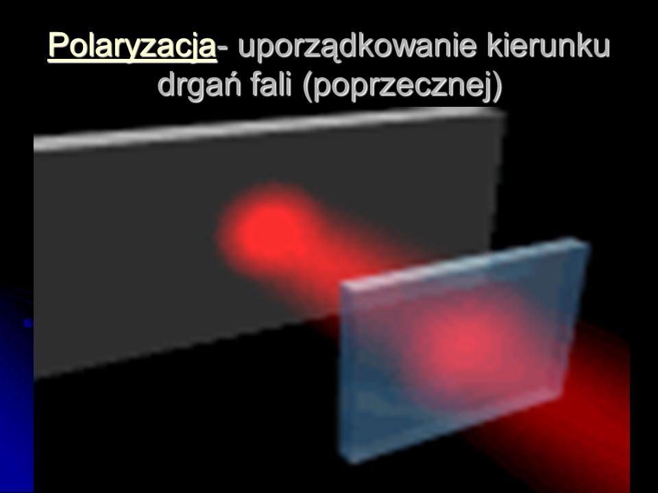 Polaryzacja- uporządkowanie kierunku drgań fali (poprzecznej)