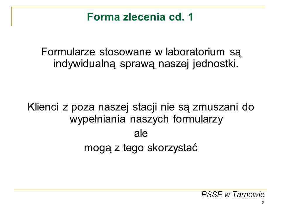 Forma zlecenia cd. 1 Formularze stosowane w laboratorium są indywidualną sprawą naszej jednostki.