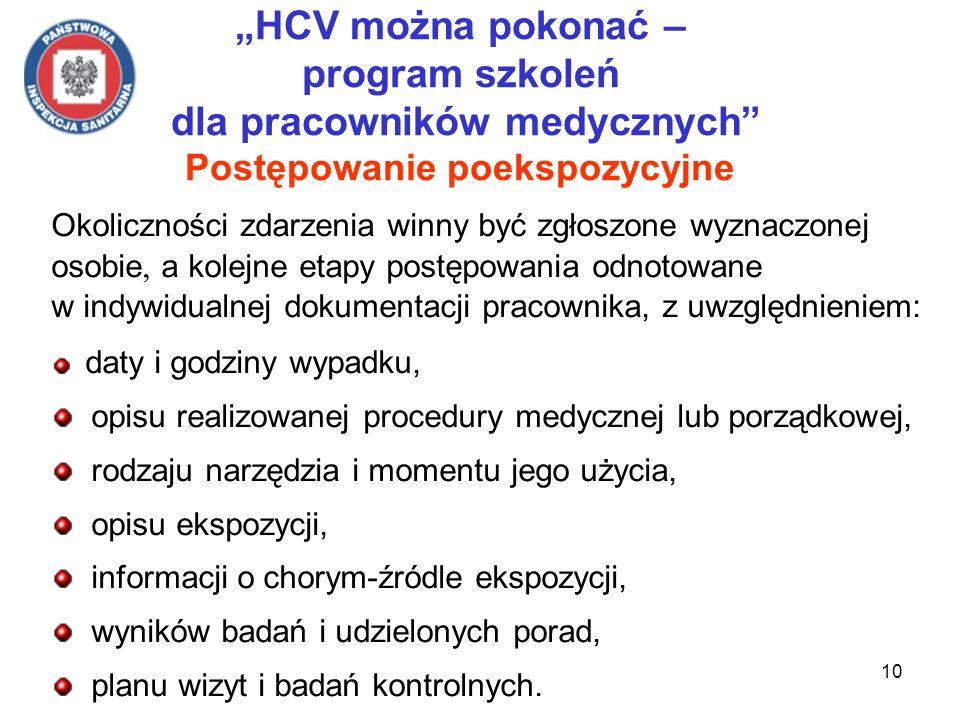"""""""HCV można pokonać – program szkoleń dla pracowników medycznych Postępowanie poekspozycyjne"""