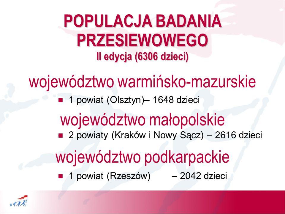 POPULACJA BADANIA PRZESIEWOWEGO II edycja (6306 dzieci)