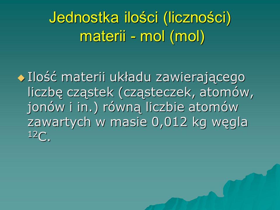 Jednostka ilości (liczności) materii - mol (mol)