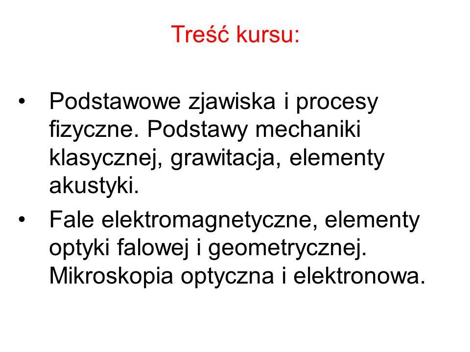 Treść kursu: Podstawowe zjawiska i procesy fizyczne. Podstawy mechaniki klasycznej, grawitacja, elementy akustyki.