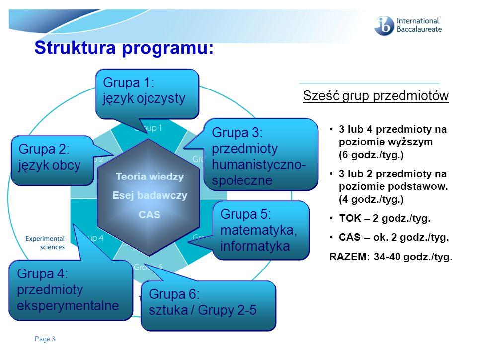 Struktura programu: Grupa 1: język ojczysty Sześć grup przedmiotów