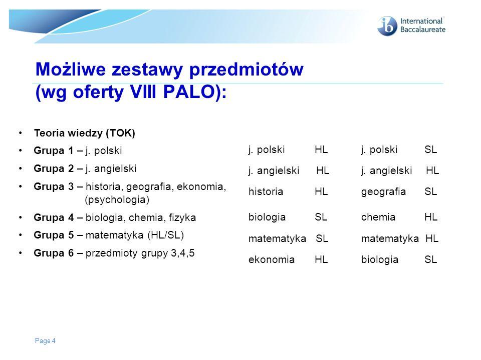 Możliwe zestawy przedmiotów (wg oferty VIII PALO):