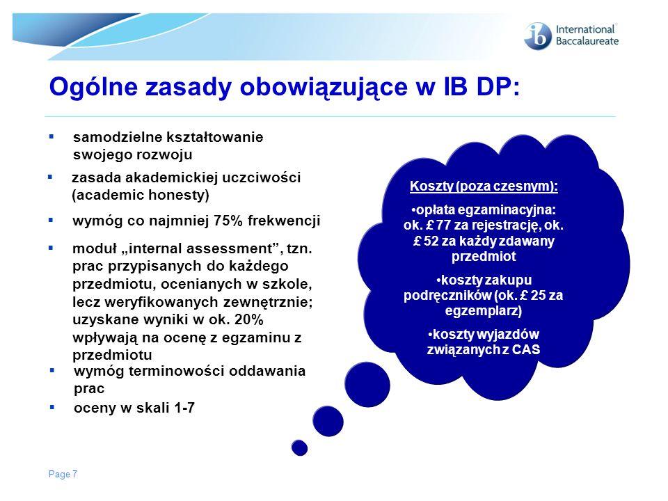 Ogólne zasady obowiązujące w IB DP:
