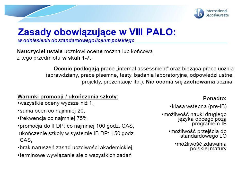 Zasady obowiązujące w VIII PALO: w odniesieniu do standardowego liceum polskiego