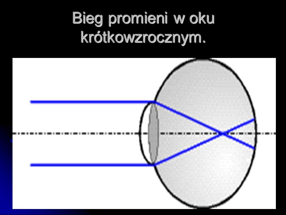 Bieg promieni w oku krótkowzrocznym.