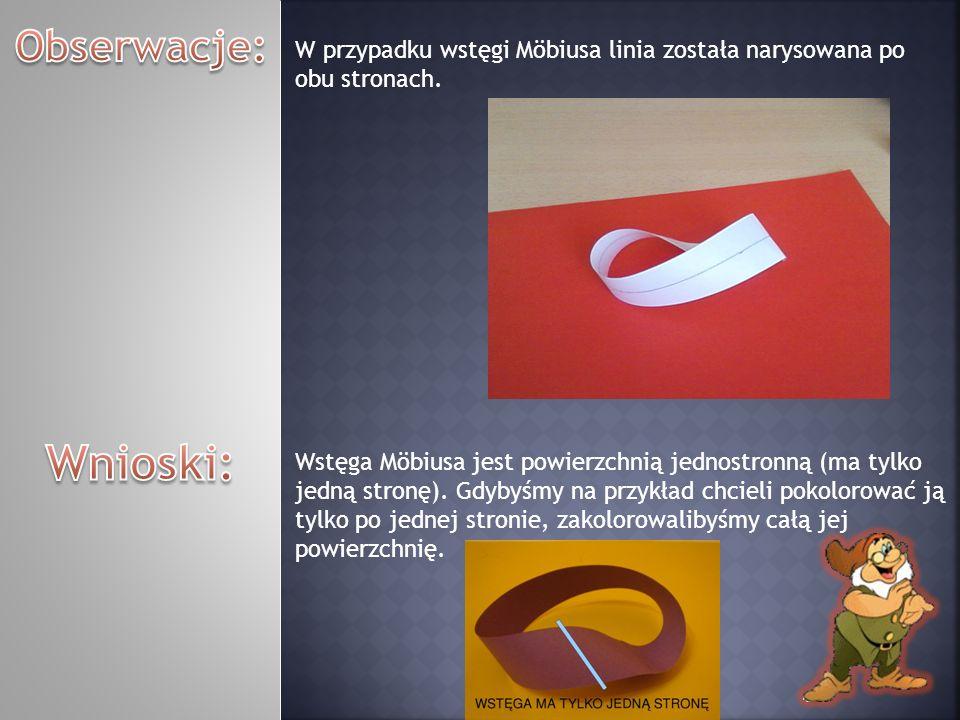 Obserwacje: W przypadku wstęgi Möbiusa linia została narysowana po obu stronach. Wnioski: