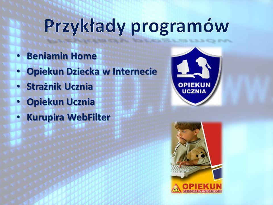 Przykłady programów Beniamin Home Opiekun Dziecka w Internecie