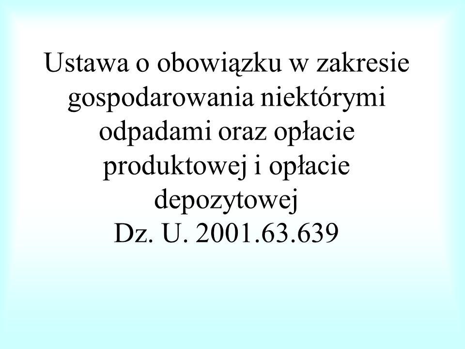 Ustawa o obowiązku w zakresie gospodarowania niektórymi odpadami oraz opłacie produktowej i opłacie depozytowej Dz.