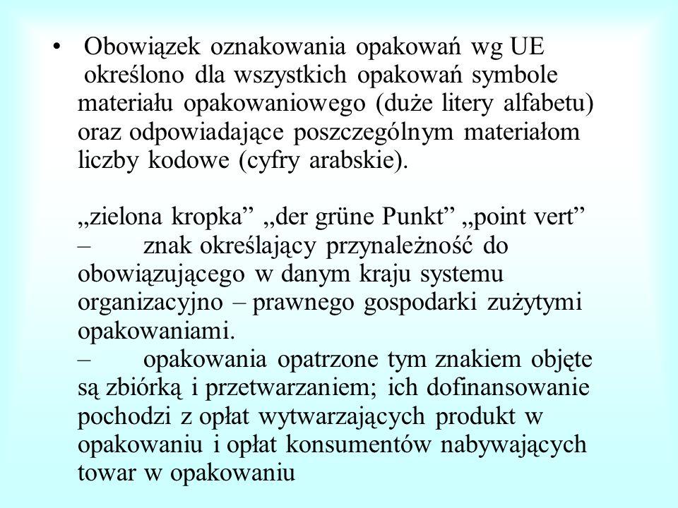 """Obowiązek oznakowania opakowań wg UE określono dla wszystkich opakowań symbole materiału opakowaniowego (duże litery alfabetu) oraz odpowiadające poszczególnym materiałom liczby kodowe (cyfry arabskie). """"zielona kropka """"der grüne Punkt """"point vert – znak określający przynależność do obowiązującego w danym kraju systemu organizacyjno – prawnego gospodarki zużytymi opakowaniami. – opakowania opatrzone tym znakiem objęte są zbiórką i przetwarzaniem; ich dofinansowanie pochodzi z opłat wytwarzających produkt w opakowaniu i opłat konsumentów nabywających towar w opakowaniu"""