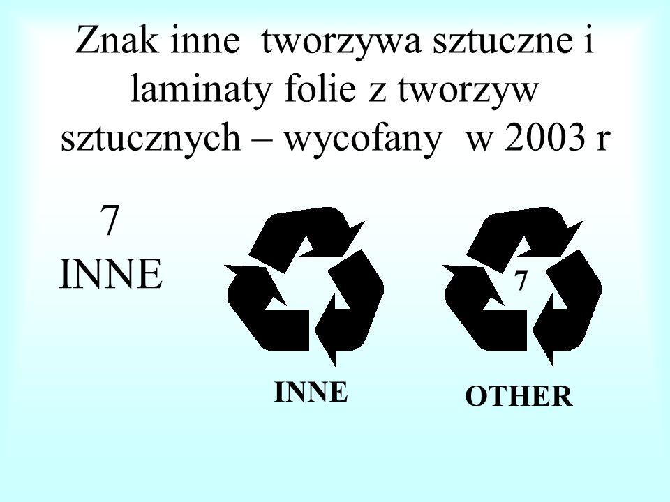 Znak inne tworzywa sztuczne i laminaty folie z tworzyw sztucznych – wycofany w 2003 r