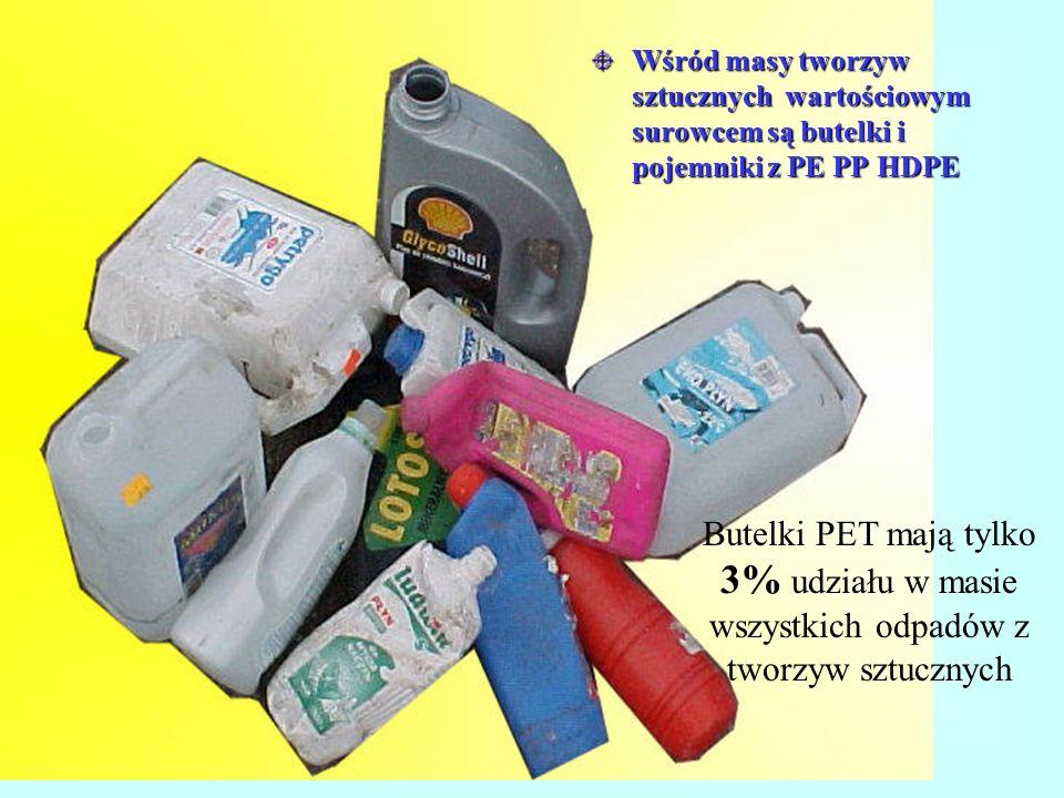 Wśród masy tworzyw sztucznych wartościowym surowcem są butelki i pojemniki z PE PP HDPE