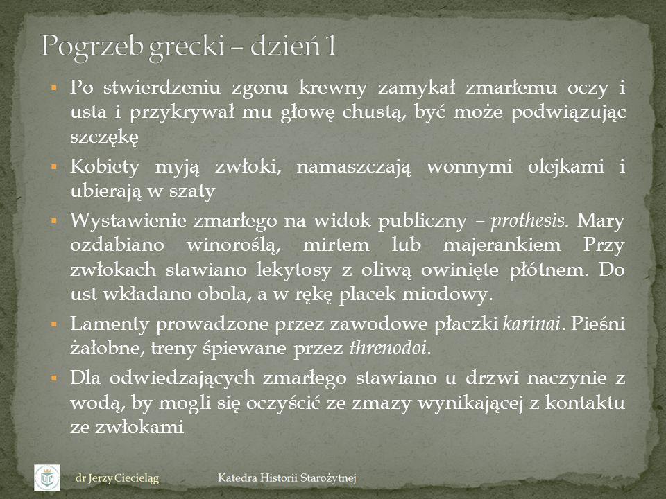 Pogrzeb grecki – dzień 1 Po stwierdzeniu zgonu krewny zamykał zmarłemu oczy i usta i przykrywał mu głowę chustą, być może podwiązując szczękę.