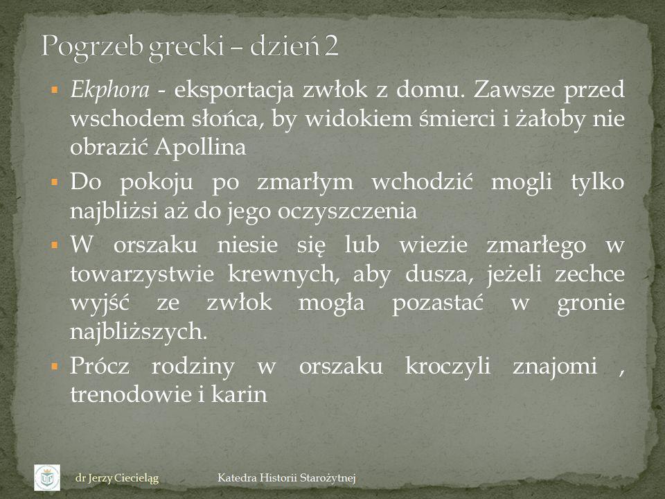 Pogrzeb grecki – dzień 2 Ekphora - eksportacja zwłok z domu. Zawsze przed wschodem słońca, by widokiem śmierci i żałoby nie obrazić Apollina.
