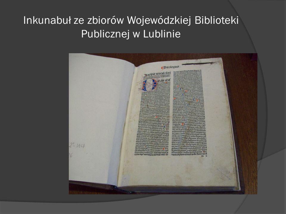 Inkunabuł ze zbiorów Wojewódzkiej Biblioteki Publicznej w Lublinie