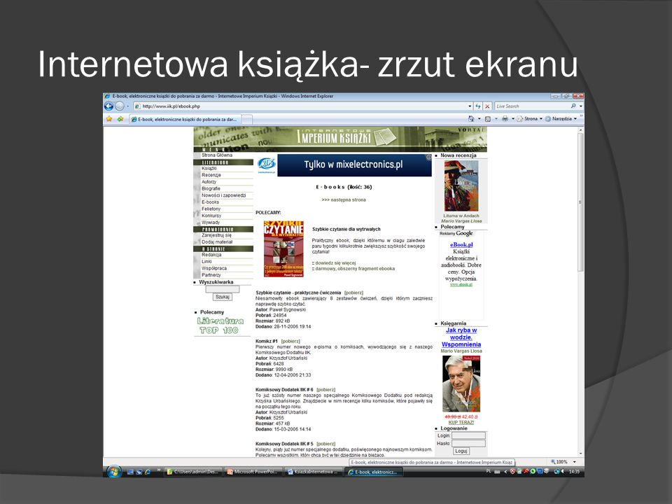 Internetowa książka- zrzut ekranu