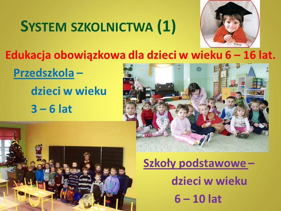 System szkolnictwa (1) Edukacja obowiązkowa dla dzieci w wieku 6 – 16 lat.