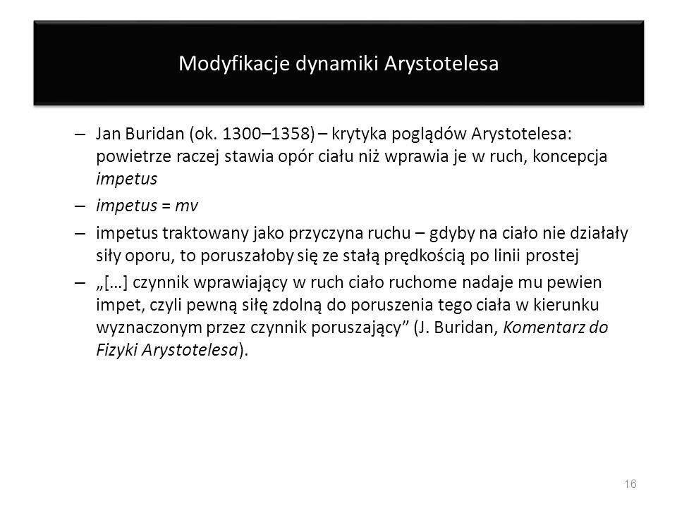 Modyfikacje dynamiki Arystotelesa