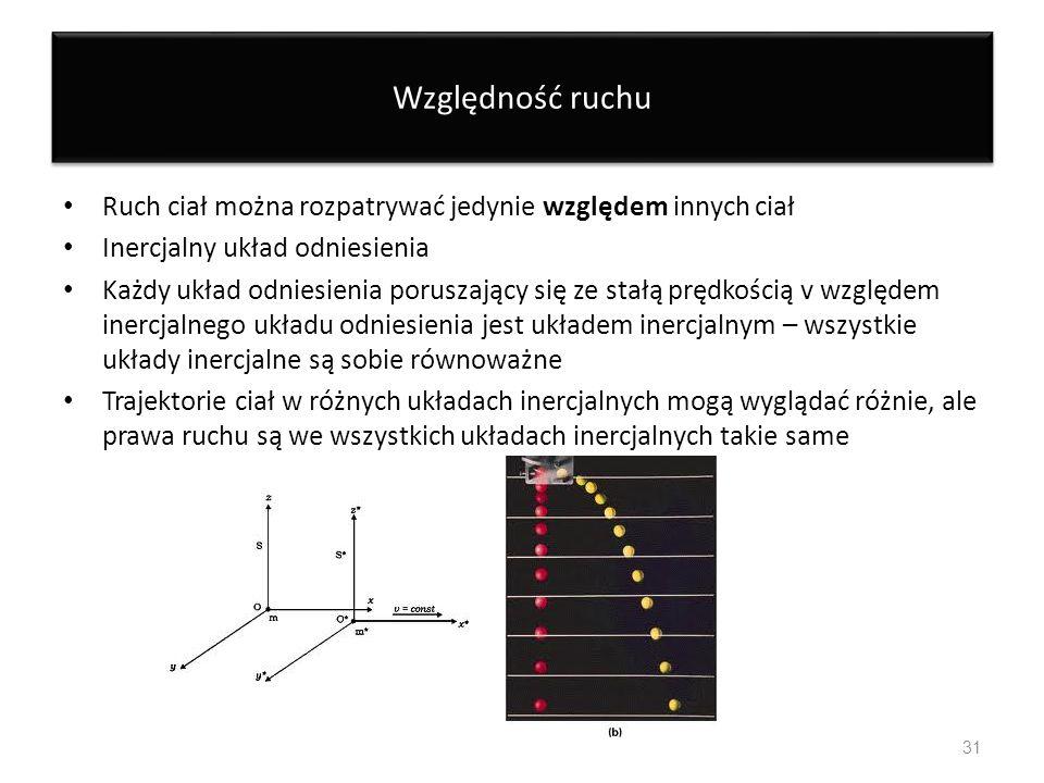 Względność ruchuRuch ciał można rozpatrywać jedynie względem innych ciał. Inercjalny układ odniesienia.