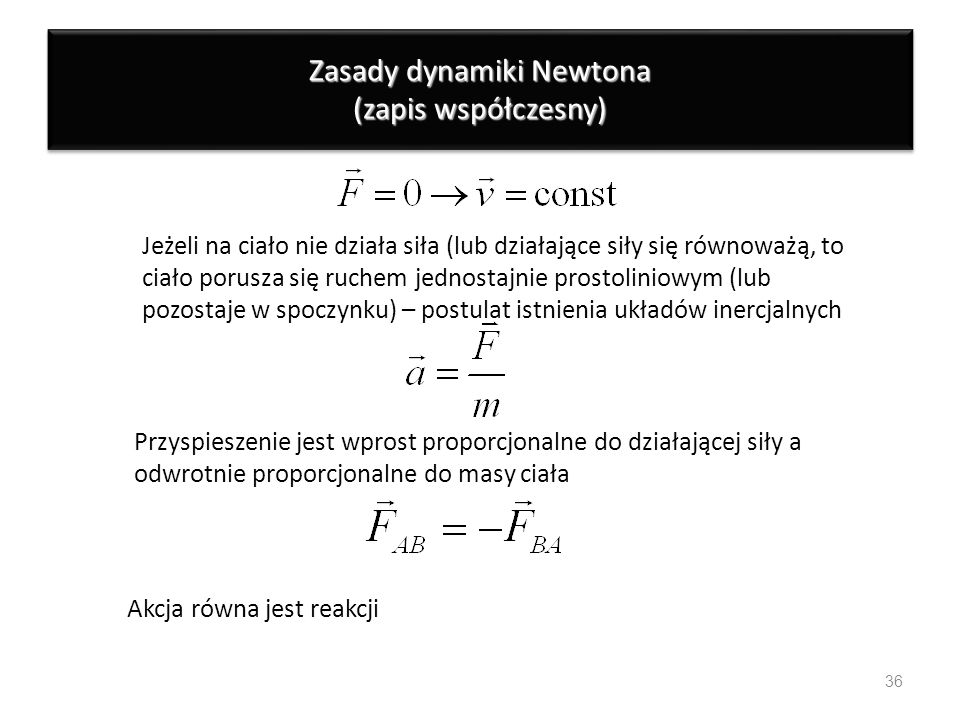 Zasady dynamiki Newtona (zapis współczesny)