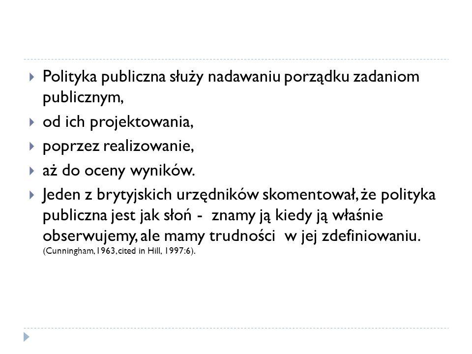 Polityka publiczna służy nadawaniu porządku zadaniom publicznym,