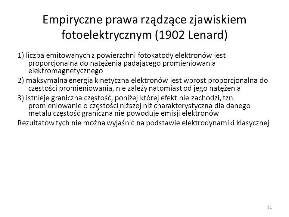Empiryczne prawa rządzące zjawiskiem fotoelektrycznym (1902 Lenard)