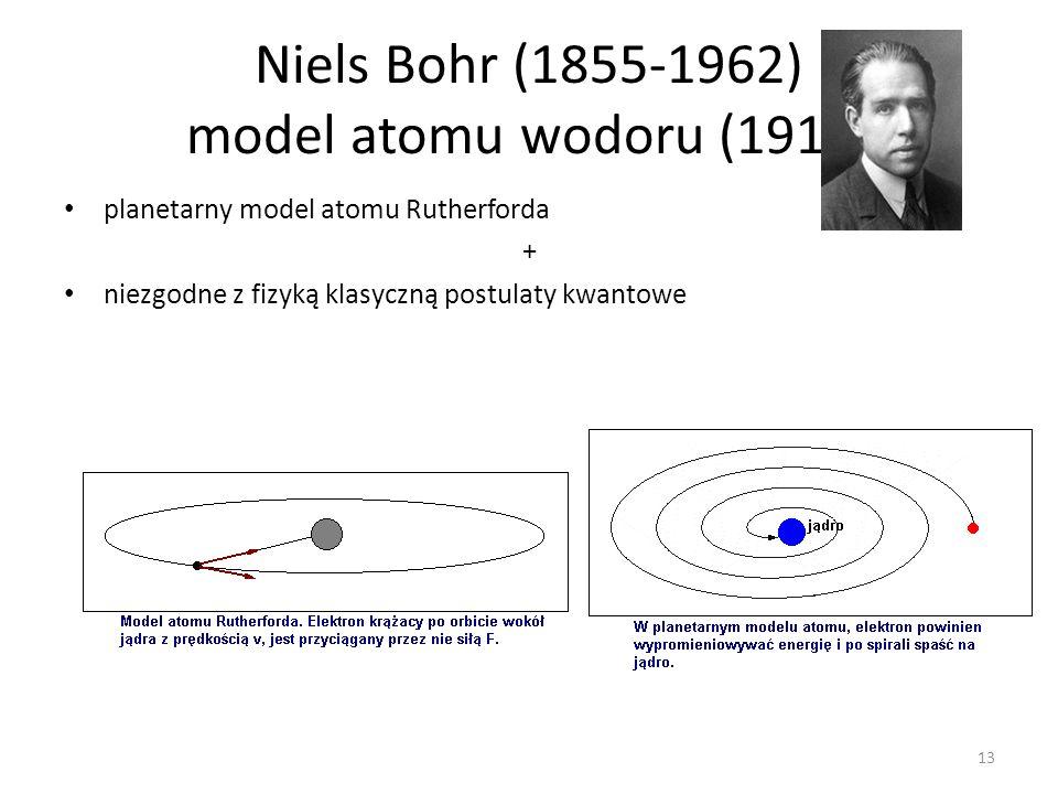 Niels Bohr (1855-1962) model atomu wodoru (1913)