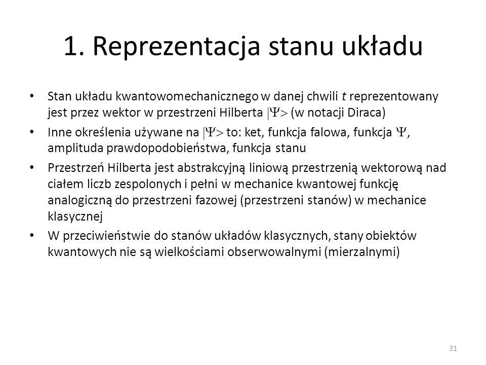 1. Reprezentacja stanu układu