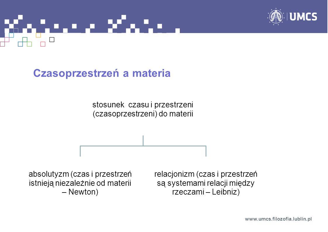 stosunek czasu i przestrzeni (czasoprzestrzeni) do materii