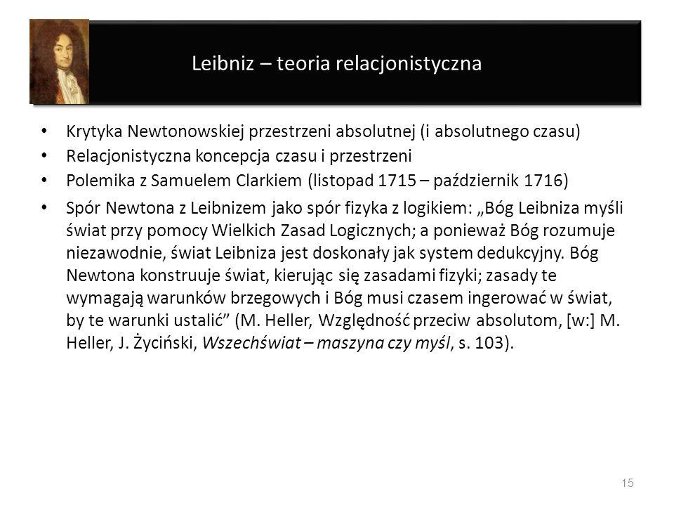 Leibniz – teoria relacjonistyczna