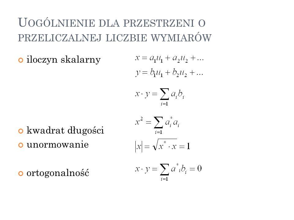 Uogólnienie dla przestrzeni o przeliczalnej liczbie wymiarów