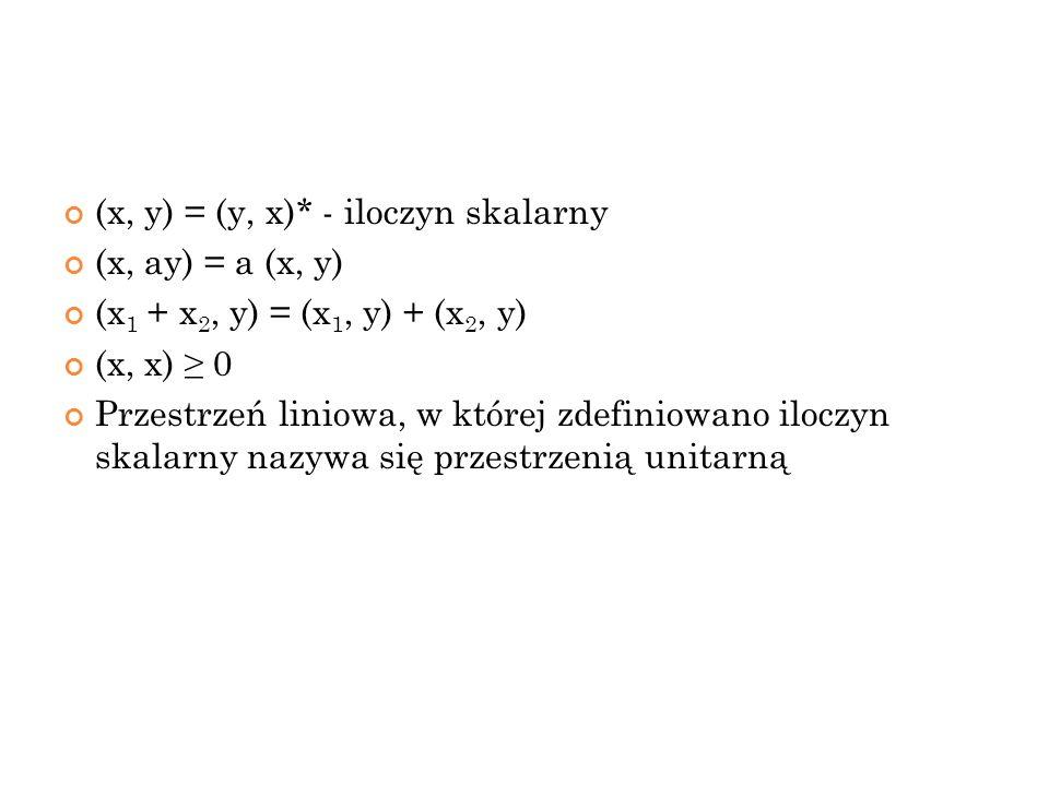 (x, y) = (y, x)* - iloczyn skalarny