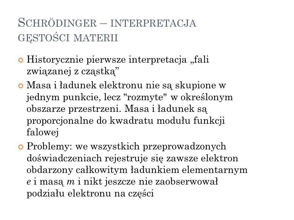 Schrödinger – interpretacja gęstości materii
