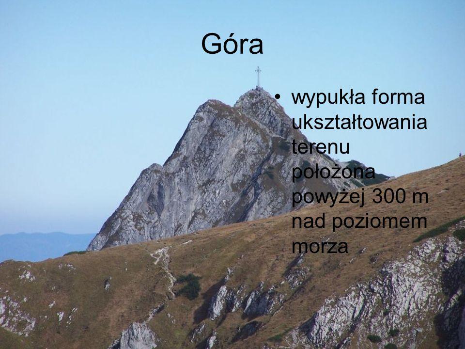 Góra wypukła forma ukształtowania terenu położona powyżej 300 m nad poziomem morza