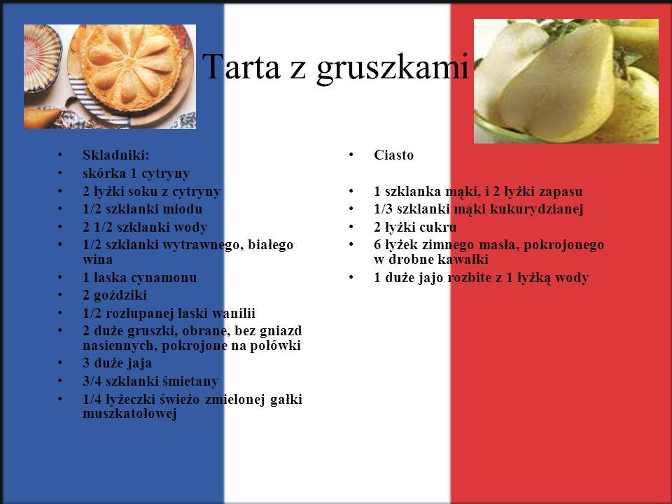 Tarta z gruszkami Skladniki: skórka 1 cytryny 2 łyżki soku z cytryny