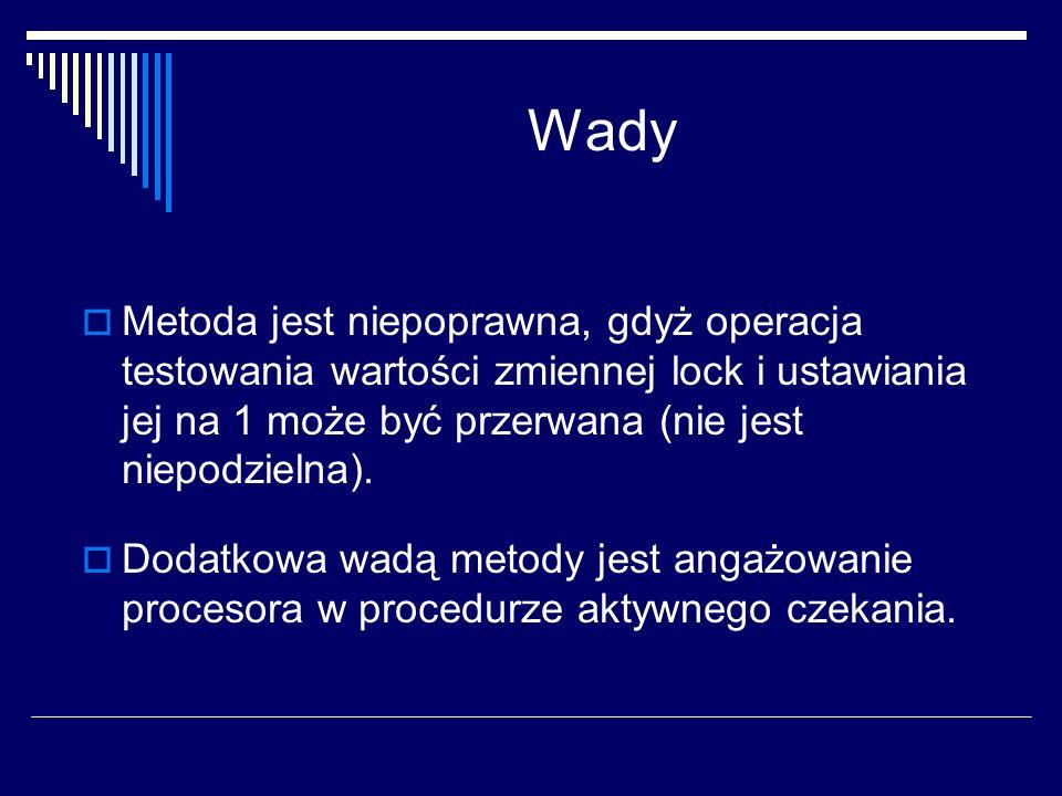 WadyMetoda jest niepoprawna, gdyż operacja testowania wartości zmiennej lock i ustawiania jej na 1 może być przerwana (nie jest niepodzielna).