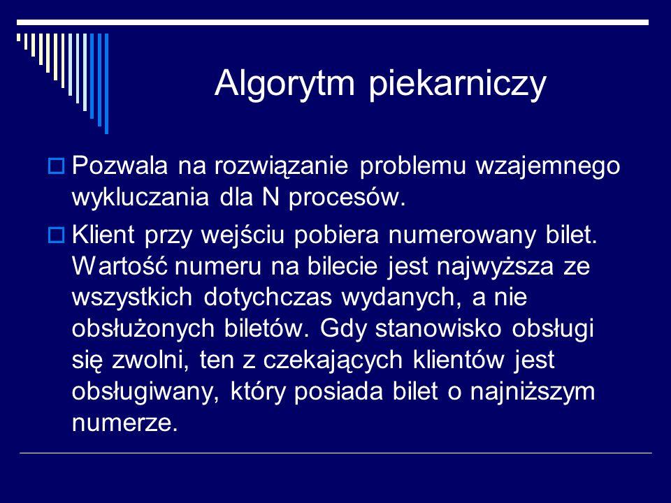 Algorytm piekarniczy Pozwala na rozwiązanie problemu wzajemnego wykluczania dla N procesów.