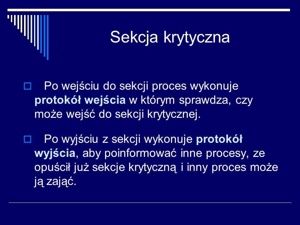 Sekcja krytyczna Po wejściu do sekcji proces wykonuje protokół wejścia w którym sprawdza, czy może wejść do sekcji krytycznej.