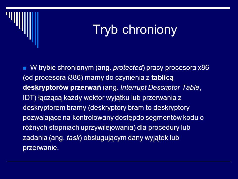 Tryb chroniony W trybie chronionym (ang. protected) pracy procesora x86. (od procesora i386) mamy do czynienia z tablicą.