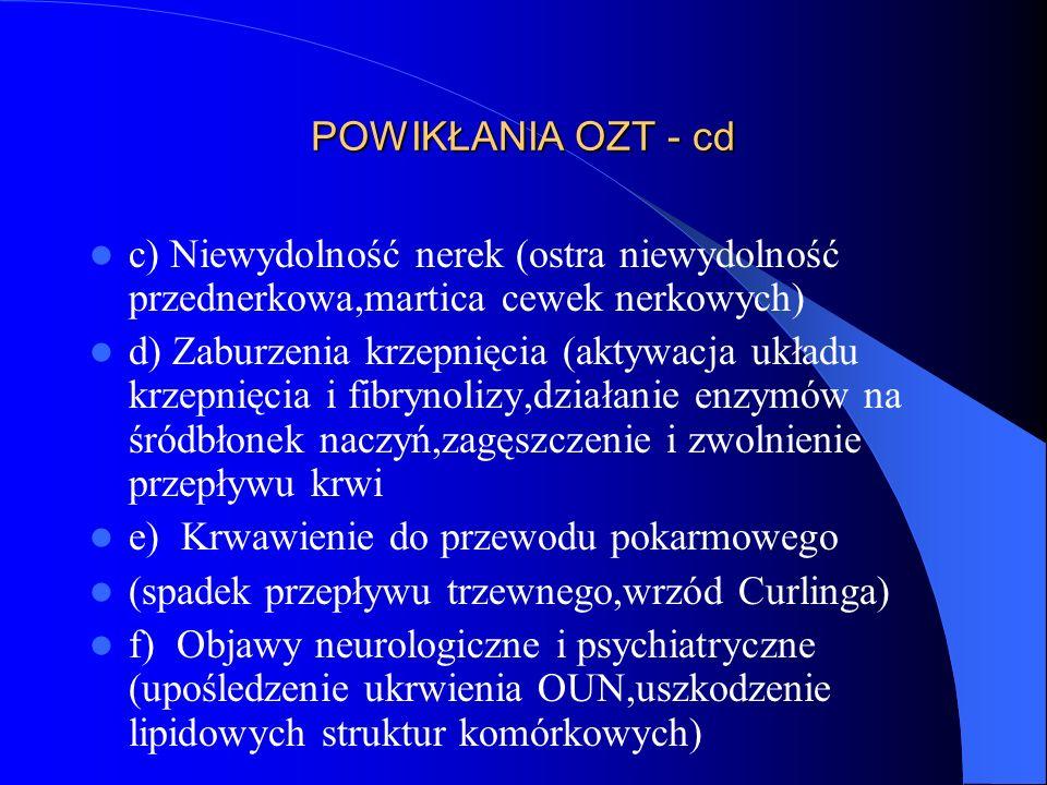 POWIKŁANIA OZT - cd c) Niewydolność nerek (ostra niewydolność przednerkowa,martica cewek nerkowych)
