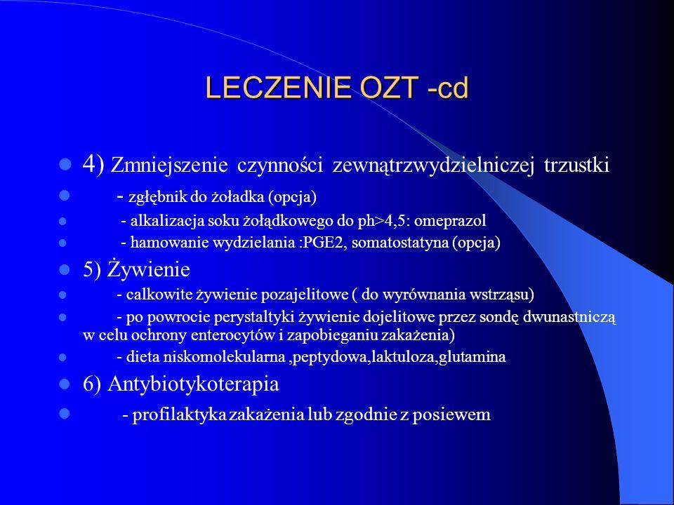 LECZENIE OZT -cd 4) Zmniejszenie czynności zewnątrzwydzielniczej trzustki. - zgłębnik do żoładka (opcja)