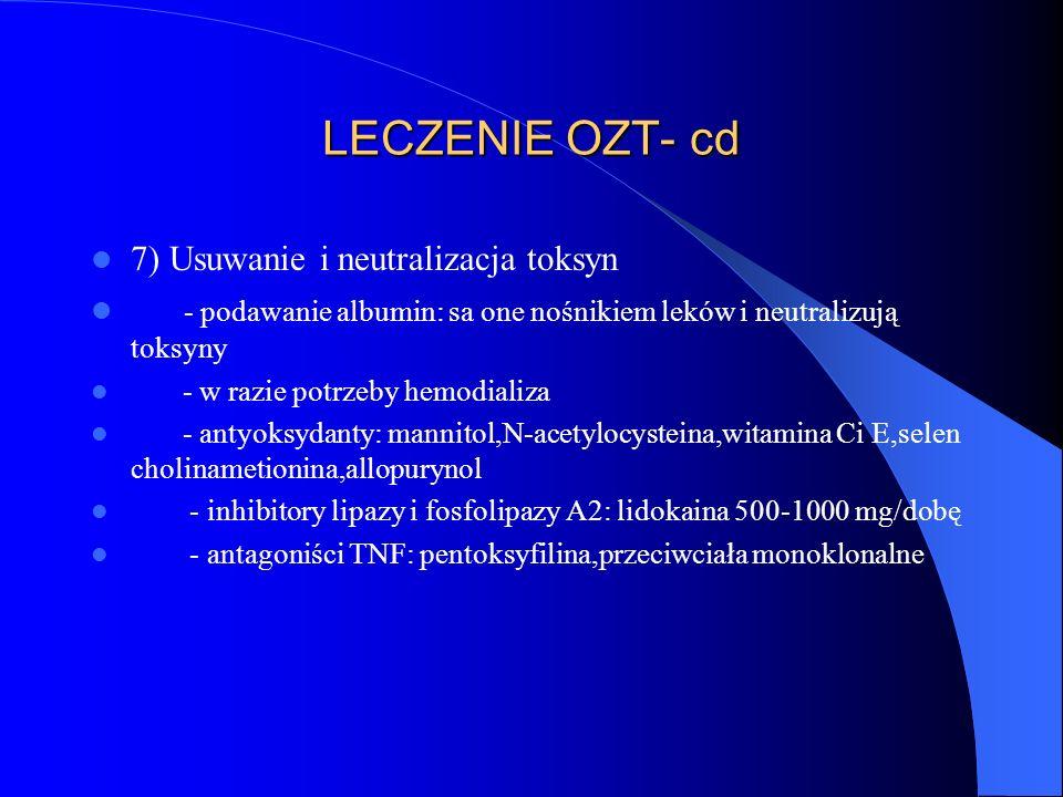 LECZENIE OZT- cd 7) Usuwanie i neutralizacja toksyn