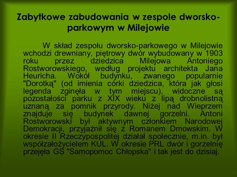 Zabytkowe zabudowania w zespole dworsko-parkowym w Milejowie