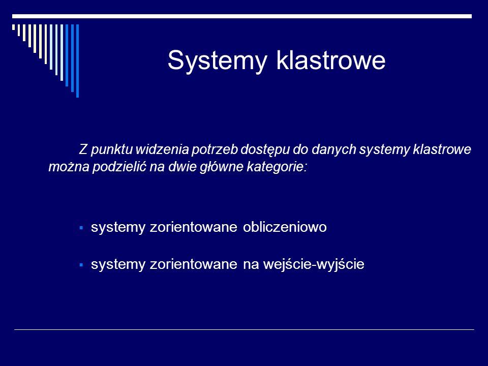 Systemy klastrowe Z punktu widzenia potrzeb dostępu do danych systemy klastrowe można podzielić na dwie główne kategorie: