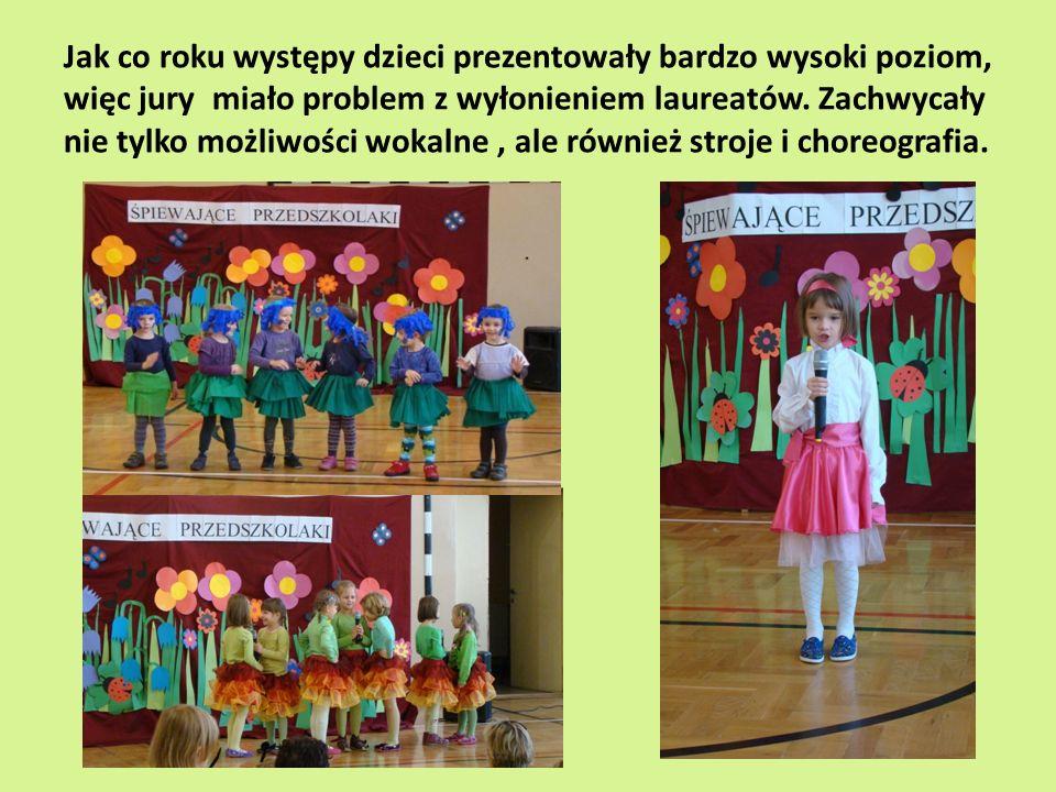 Jak co roku występy dzieci prezentowały bardzo wysoki poziom, więc jury miało problem z wyłonieniem laureatów.