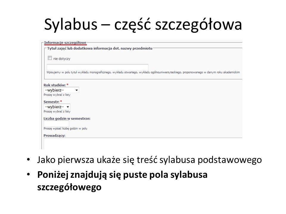 Sylabus – część szczegółowa