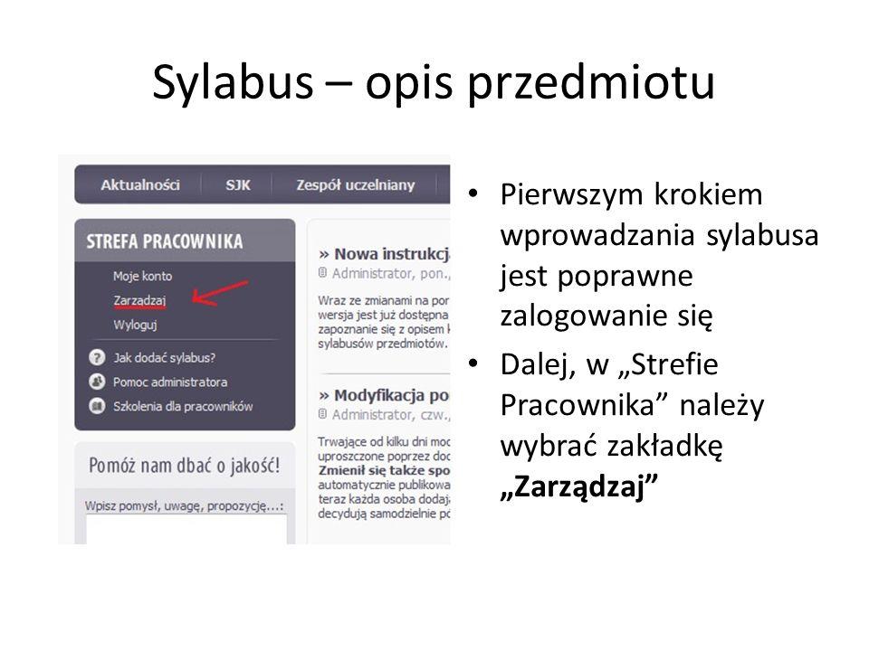 Sylabus – opis przedmiotu