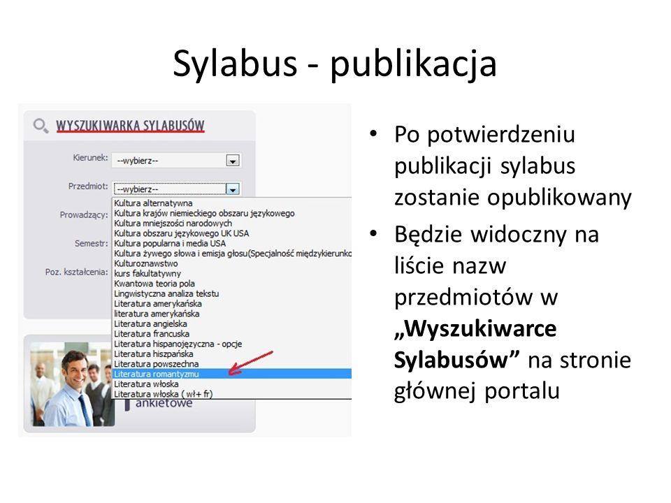 Sylabus - publikacja Po potwierdzeniu publikacji sylabus zostanie opublikowany.
